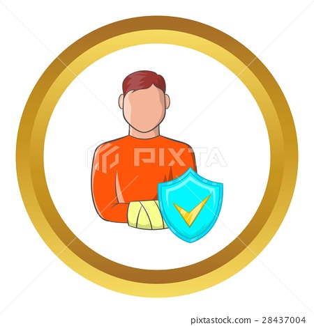 Man with broken arm vector icon 28437004