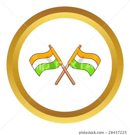 Two crossed flags of India vector icon 28437225