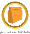 Paper bag with lunch vector icon 28437439