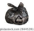 Black tied garbage bag with recycle symbol 28445281