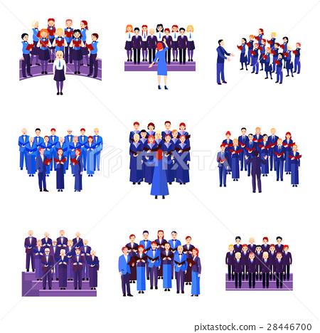 Choir Singing Ensemble Flat Icons Collection  28446700