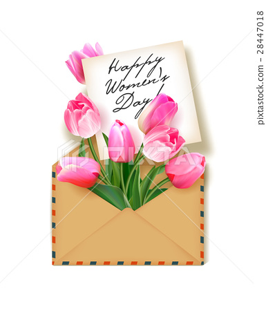 tulips with a note in an envelope template for stock illustration