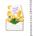 Tulips with a note in an envelope. Template for 28447030