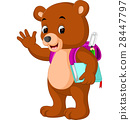 cute bear go to school cartoon 28447797