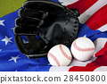 American Baseball. Ball and glove 28450800