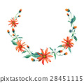 Watercolor wreath. Red daisies with leaves 28451115