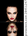 Beauty makeup fashion model on mirror  reflection 28451247