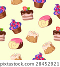 Cupcake Cake Chocolate Swiss Roll Seamless Pattern 28452921