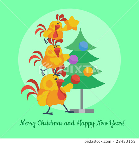 Cartoon Roosters Decorating Christmas Tree Vector 28453155