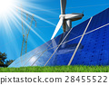 Solar Panels - Wind Turbine - Power Line 28455522