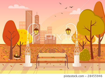 Autumn City Park Vector Illustration 28455946