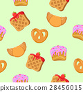 Seamless Pattern with Croissants, Wafers, Cupcakes 28456015