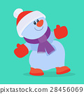 Funny Cartoon Snowman Flat Vector Icon 28456069