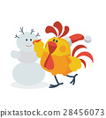 rooster, snowman, vector 28456073