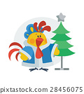rooster, christmas, cartoon 28456075