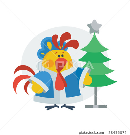 Rooster in Christmas Suit Cartoon Flat Vector Icon 28456075