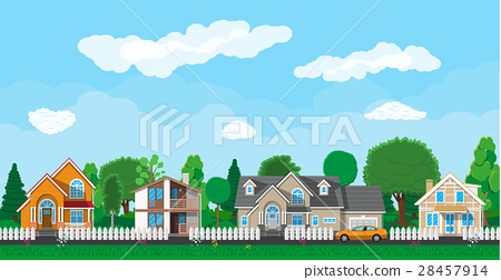 Private suburban houses with car 28457914