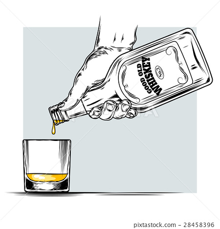 illustration of whiskey and glass 28458396