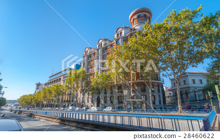 View from Alfonso XII street in Madrid, Spain. 28460622
