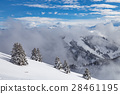 Snow covered landscape with clouds and trees 28461195