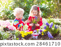 Kids plant and water flowers in spring garden 28461710