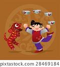 Kids playing with Chinese zodiac animal - Dog 28469184