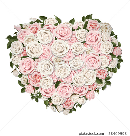 rose flowers in a heart shape symbol 28469998