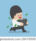 Businessman running with suitcase full of money 28470090