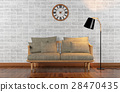 Living room interior with brick wall, 3D rendering 28470435