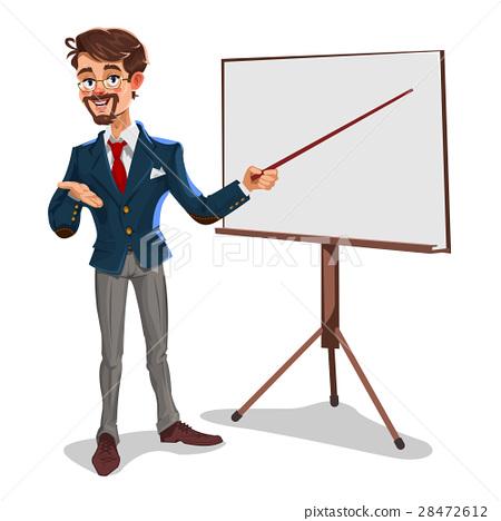 Vector 3d businessman in a presentation 28472612