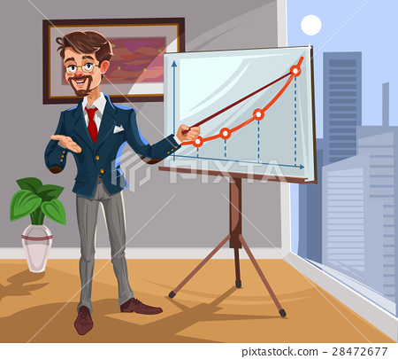Vector 3d businessman in a presentation 28472677