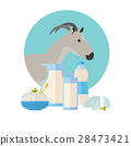 Goat Icon with Milk Products. Dairy Set 28473421