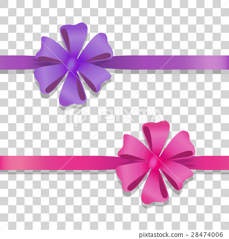 Violet and Pink Wide Ribbons with Colourful Bows 28474006
