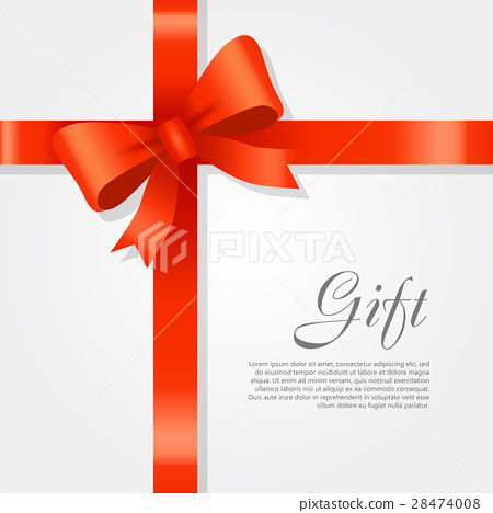 Gift. Red Wide Ribbon. Bright Bow with Two Petals 28474008