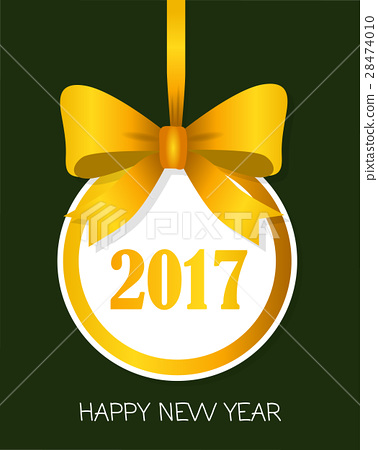 2017 Happy New Year Round Banner with Yellow Bow 28474010