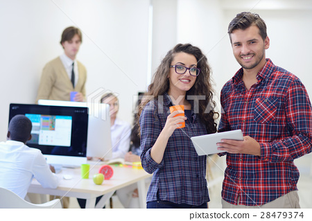 young startup business people, couple working on 28479374