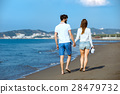 walking, beach, couple 28479732