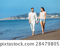 walking, beach, couple 28479805