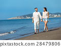 walking, beach, couple 28479806