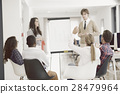 Businessman giving a presentation to his 28479964