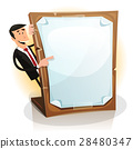 Cartoon White Businessman Holding A Paperboard 28480347