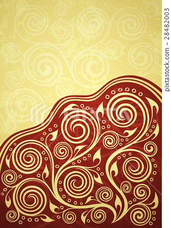 Abstract red-yellow vintage floral background 28482003