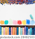 Pastel crayons and blank sheet of sketchbook 28482503