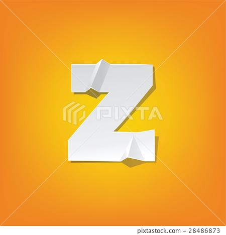 z lowercase letter fold english alphabet design - Stock