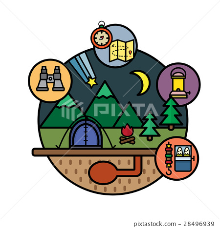 Camping flat design icons 28496939