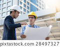 businessman worker handshaking on construction  28497327