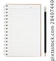open blank page notebook and pencil isolated 28497449