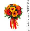 Flower bouquet of red and orange gerberas 28498306