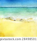 watercolor sketch of sea view from tropical beach  28498501