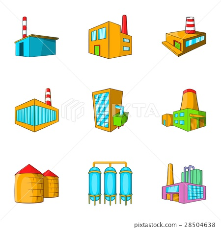 Factory icons set, cartoon style 28504638